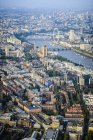 Aerial view of London cityscape, london eye and river, England — Stock Photo