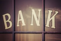 Close-up of Bank word written on window panes, South Dakota, USA — Stock Photo