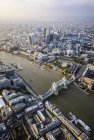 Aerial view of London cityscape, Tower Bridge and river, England — Stock Photo