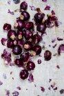 Pequeñas cebollas rojas brillantes y pieles sobre fondo gris . - foto de stock