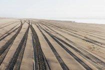 Pneumatico tracce su superficie morbida di sabbia sulla spiaggia . — Foto stock