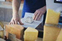 Сырный магазин, завернутый руками в козлиный сыр — стоковое фото