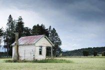 Maison abandonnée dans le domaine sous le ciel nuageux dans la campagne boisée — Photo de stock