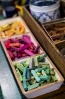 Close-up of crayons in variety of vibrant colors. — Stock Photo