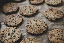 Nahaufnahme von frisch gebackenen Saatkräckern auf Backblech. — Stockfoto