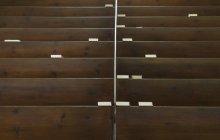 Bibles on church pews, full frame — Stock Photo