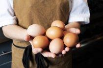 Close-up de mãos de mulher vestindo avental segurando ovos de galinha marrom fresco . — Fotografia de Stock