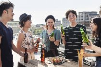 Group of young Japanese men and women standing on rooftop in urban setting, drinking beer with snacks. — Stock Photo