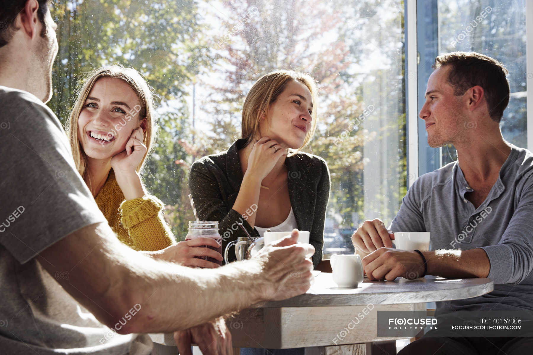 People Sitting At Cafe Couple Colour Stock Photo 140162306