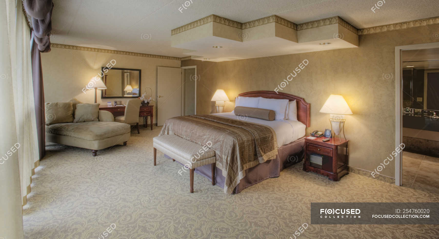 Luxury Master Bedroom With Elegant Interior Design Nobody Drapes Stock Photo 254760020