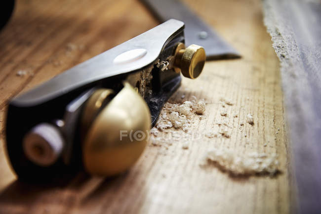 Wood plane with smooth handle — Stock Photo