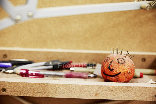 Workbench with pencils and markers — Stock Photo