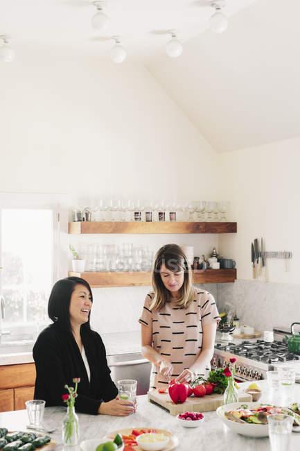 Frauen in einer Küche beim Zubereiten des Mittagessens — Stockfoto