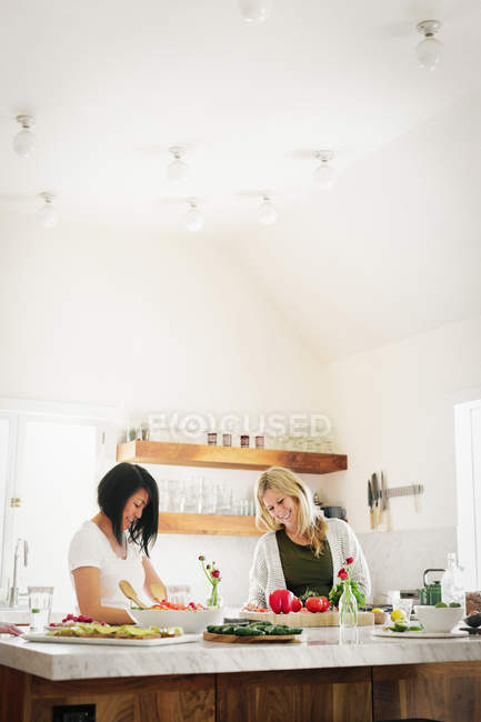 Women preparing lunch in a kitchen. — Stock Photo