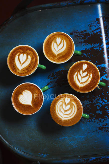 Top view cups of coffee — Stock Photo