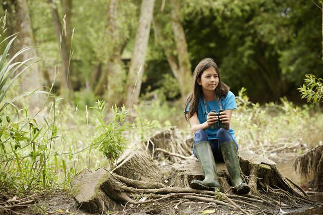 Дівчина сидить на дереві — стокове фото