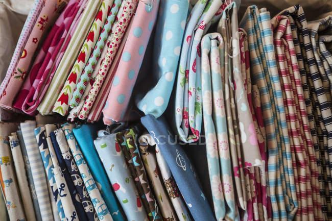 Colourful sewing fabrics — Stock Photo