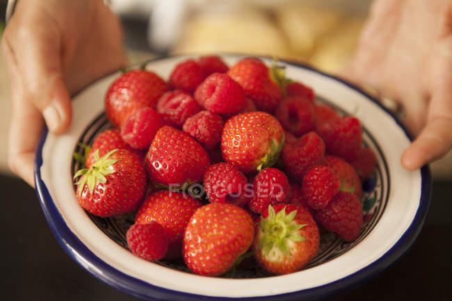 Чаша свежей клубники — стоковое фото