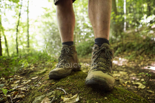 Close up of a man 's feet in hiking boots — стоковое фото