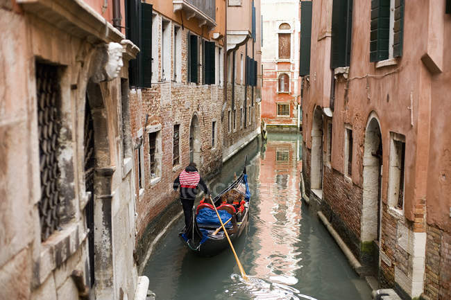 Gondola boat gliding down — Stock Photo