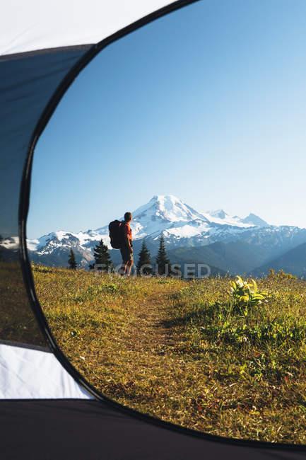Vista dalla tenda dell'uomo escursionismo — Foto stock