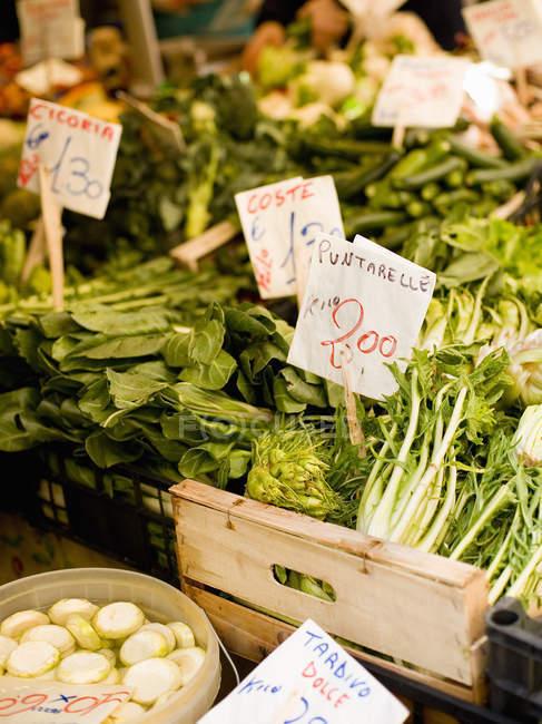 Fresh vegetables at the Rialto Food market. — Stock Photo