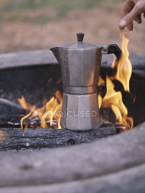 Espresso maker over the fire. — Stock Photo