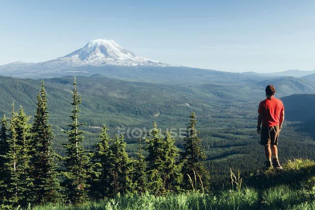 Viandante maschio su una sommità della montagna — Foto stock
