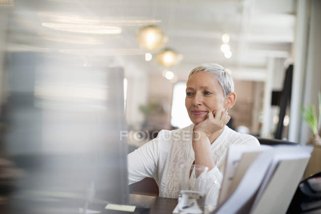 Woman using a computer. — Stock Photo