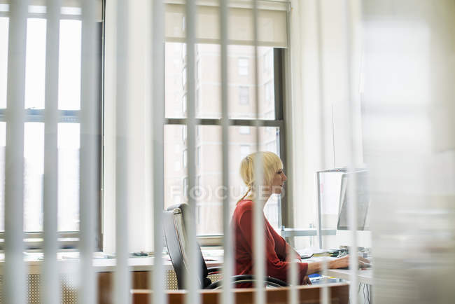 Woman sitting at a desk using a computer — Stock Photo