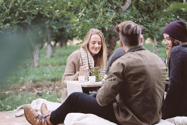 People sitting on the ground in Apple orchard — Stock Photo