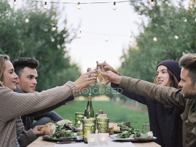 People toasting with a glass of cider — Stock Photo