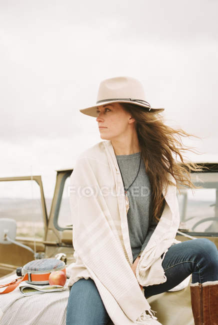 Woman wearing a hat — Stock Photo