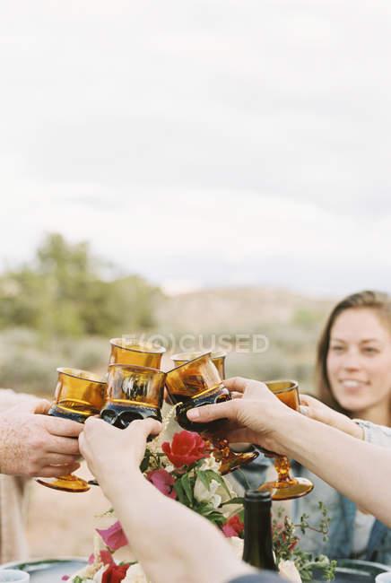 Mujeres levantando sus copas para brindar - foto de stock