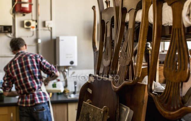 Antique furniture restorer's workshop — Stock Photo