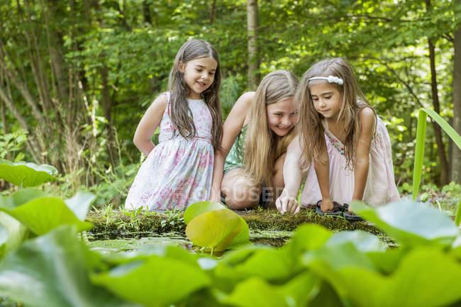 Niñas jugando en el lago - foto de stock