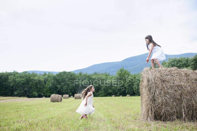 Niñas jugando en el campo - foto de stock