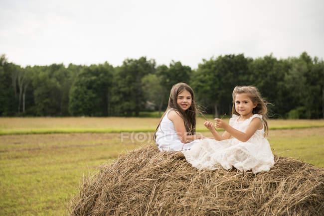 Niñas sentadas en la reproducción de pajar. - foto de stock