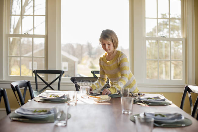 Girl setting the table with plates u2014 Stock Photo  sc 1 st  Focused Collection & Girl setting the table with plates u2014 Stock Photo   #124200002