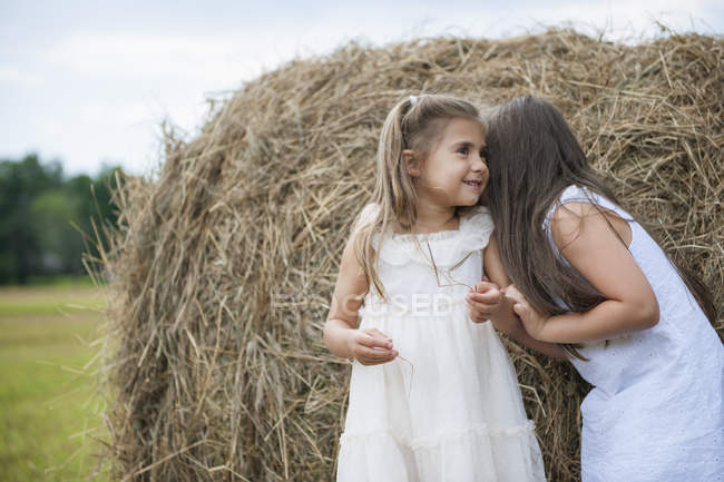 Girls standing by a large haybale — Stock Photo