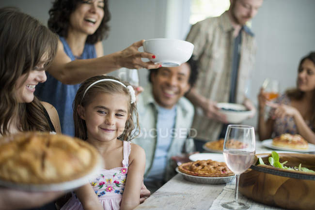 Family gathering for a meal — Stock Photo