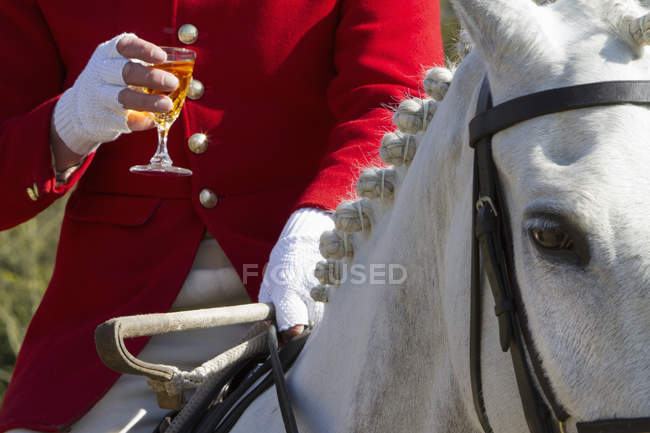 Master of Foxhounds having a drink — Stock Photo