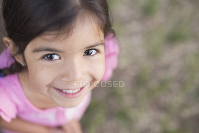 Girl with dark brown hair — Stock Photo