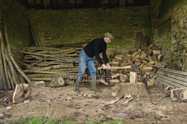 Homme coupant du bois avec hache — Photo de stock