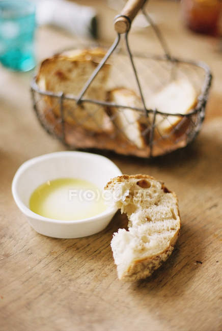 Bread slices in a basket — Stock Photo