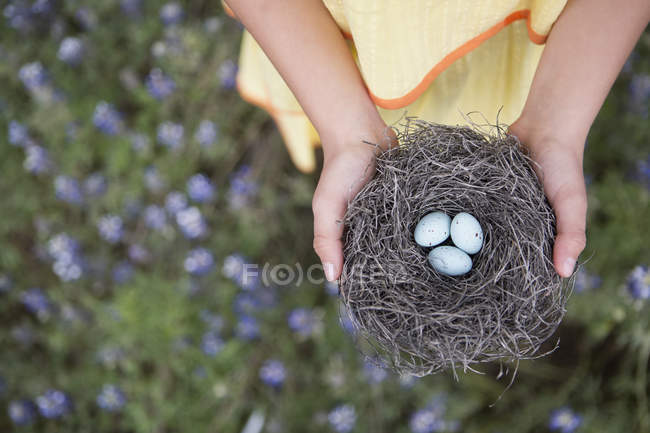Girl holding out a woven bird nest — Stock Photo