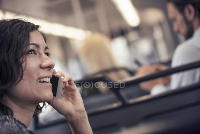 Woman on a city bus — Stock Photo