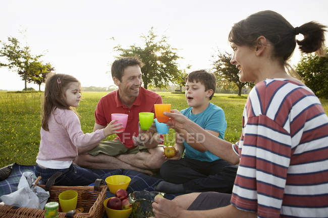 Family, two parents and two children — Stock Photo