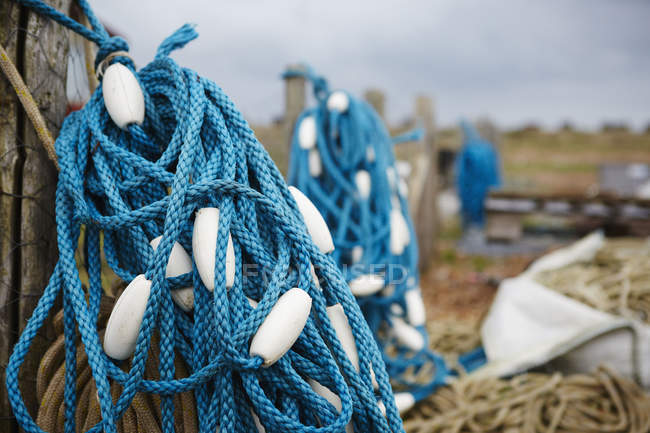 Tangle of blue fisherman's rope — Stock Photo