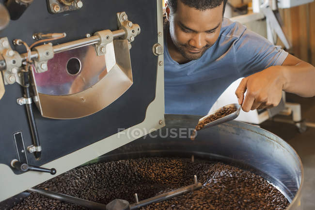 Machinery at a coffee bean processing shed — Stock Photo
